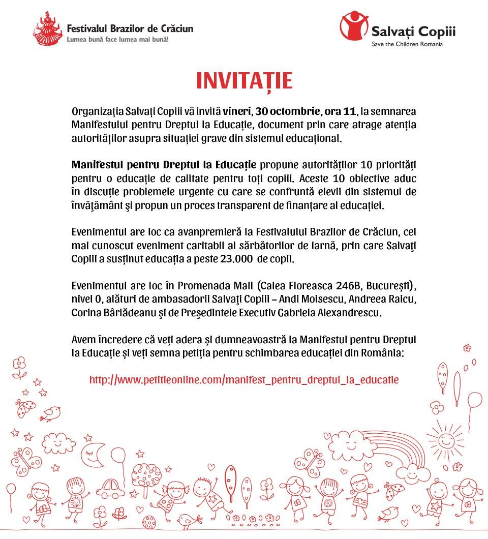 Invitatie ev. Salvati Copiii, 29.10.2015