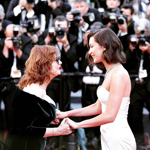 #Cannes2017 behind the scene: two beauties @susansarandon & @bellahadid #exclusivephoto #CannesLifestyle
