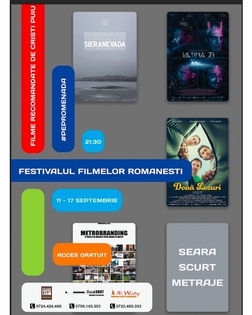 We invite you at the Romanian movies Festival (11-17 September) @promenadaro. We prepared lots of surprises and we also have a special guest coming. #romanianmoviesfestival #movies #shortmovies #festival #pepromenada #bucharest #sieranevada #ultimazi #doualozuri #promenadaevents #culturalevents #goodtimes #september #directors #actor #moviesprojection